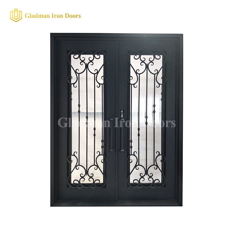 Simple Wrought Iron Metal Double Doors W/ Frame and Threshold