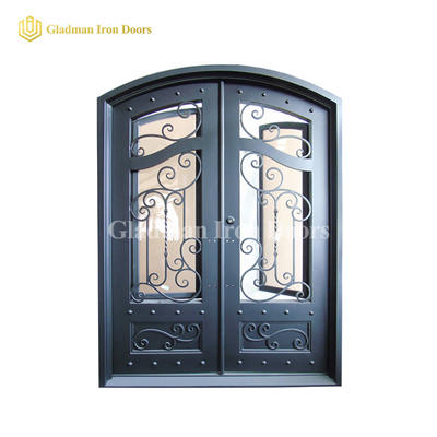 Eyebrow Top Design Wrought Iron Security Double Door W/ Frame and Threshold