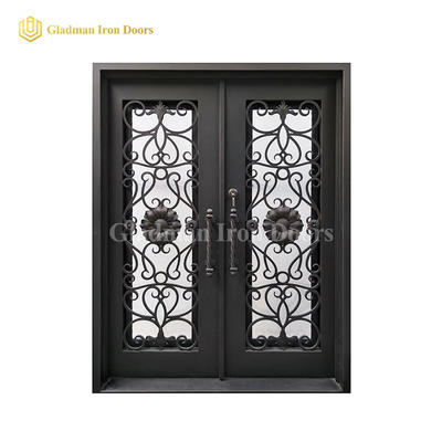 Double Wrought Iron Front Door Square Top W/ Special Sun Flower