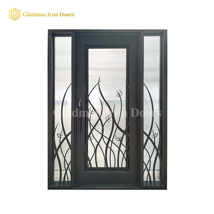 Wrought Iron Single Entry Doors  W/ Double Panels Insulating Glass