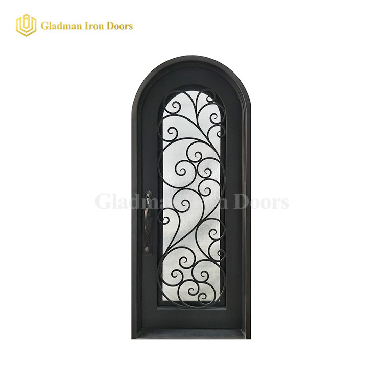 Single Wrought Iron Front Door W/ Round TOP Tempered Insulating Glass