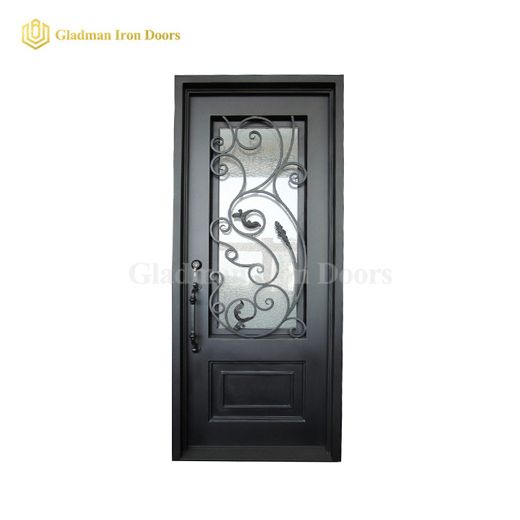 Single Wrought Iron Security Front Door 96 x 40 x 6 Inches