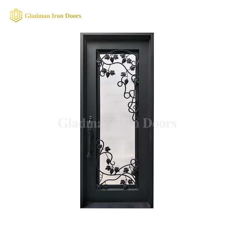 Square Top Wrought Iron Security Door Single Gate Design