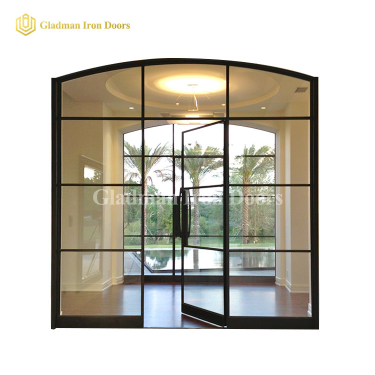 Custom French Style Doors Iron Arch Top 3 Panels W/ Transom Clear Glasses
