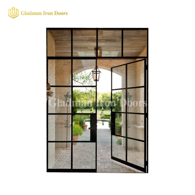 Iron Double Metal French Door W/ Fixed Clear Glasses