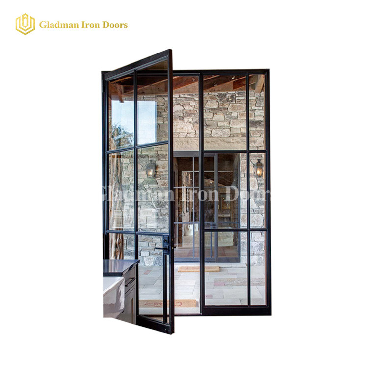 Modern French Entrance Iron Double Door W/ 4 Panels Design