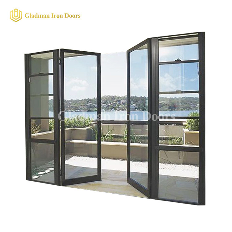 Aluminum Modern Exterior French Doors W/ Both Side Opening Glasses