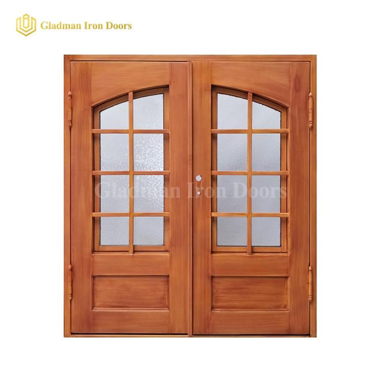 Latest Wooden Double Door Eyebrow Glass Design For Home