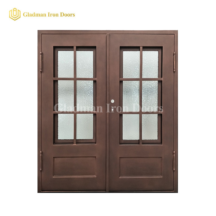 Light Bronze Internal House Double Door Design W/ Rain Glass