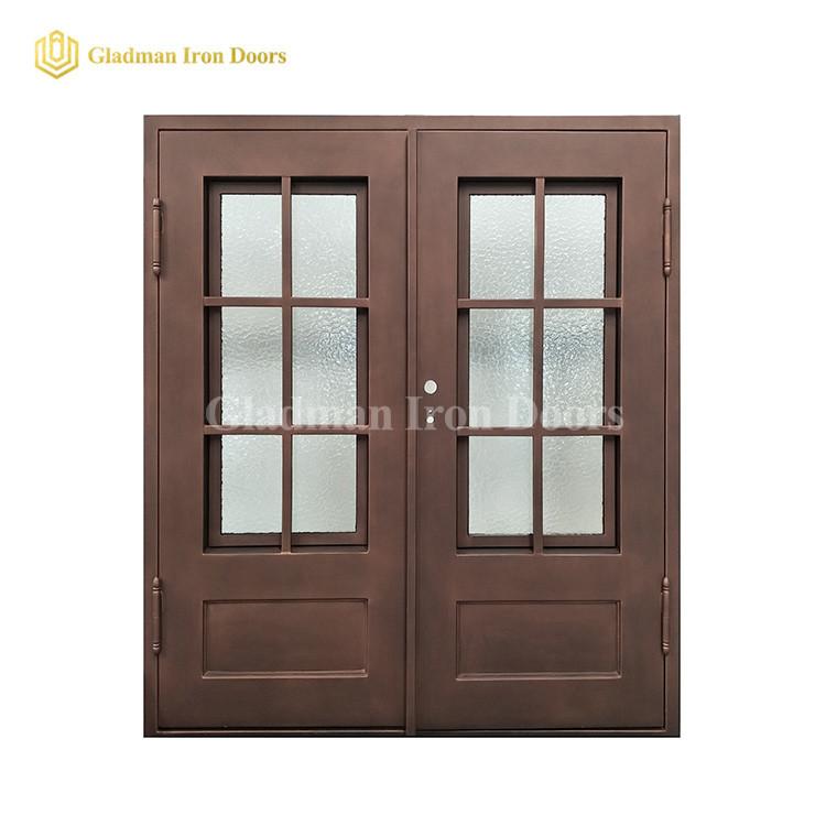 Light Bronze Internal House Double Door Design W/ Rain Glass