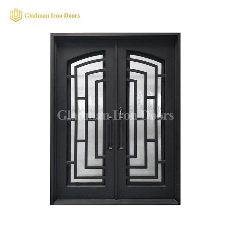 Modern Double Door W/ Rain + Clear Tempered Glass and Square Frame and Threshold