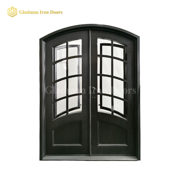 Eyebrow Frame Interior Exterior Double Entry Doors W/ Rain + Clear Tempered Glass and Threshold