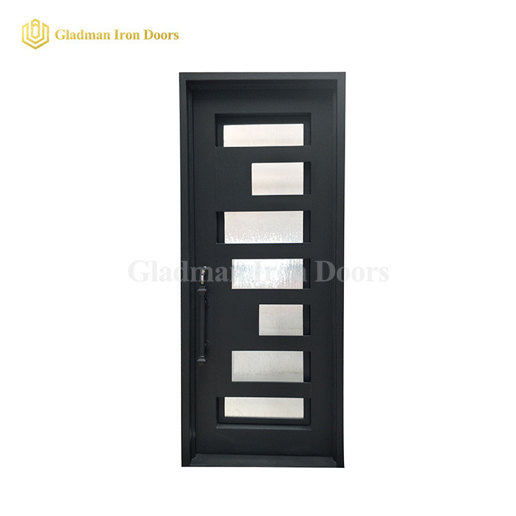 Single Modern Door W/ Glass and Square Frame and Threshold
