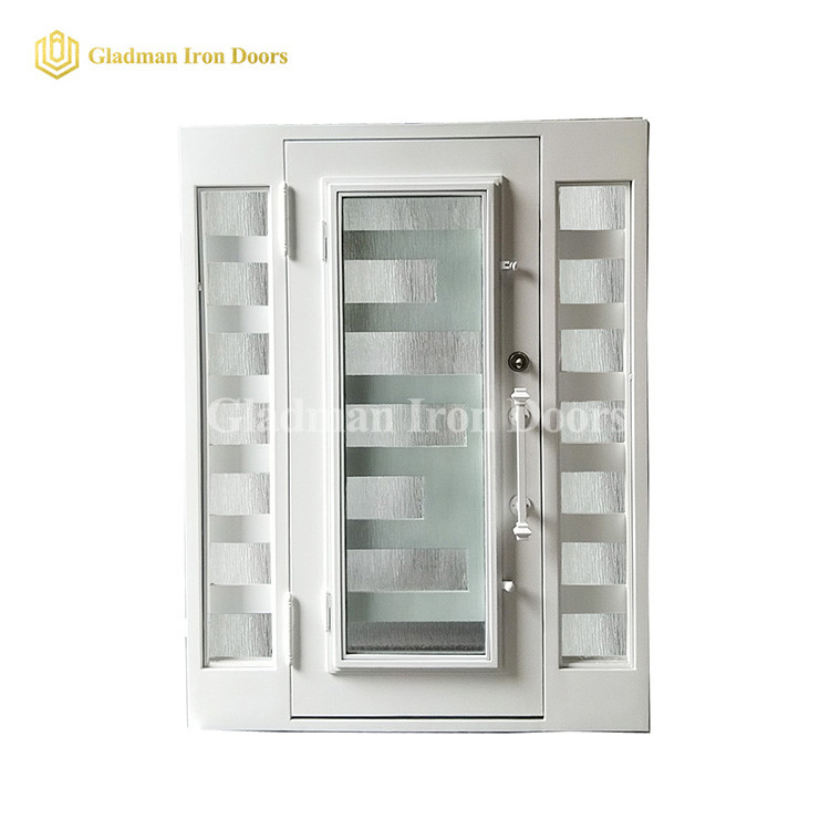 Customized White Modern Iron Single Door With Sidelight and Square Frame and Threshold- 62 x 81 x 6 Inches-Right Hand Inswing