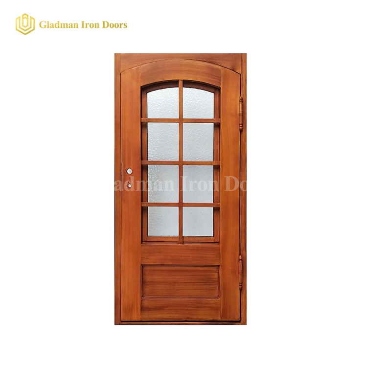 Popular Wooden Color Single Door With Eyebrow Glass and Square Frame and Threshold- 40 x 96 x 6 Inches-Right Hand Outswing