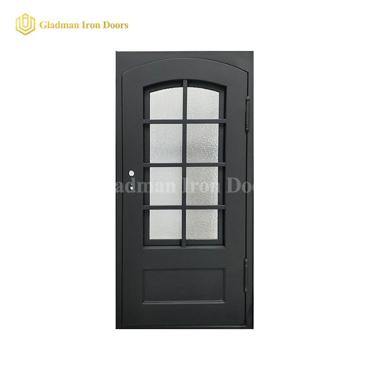 Popular Modern Single Door With Eyebrow Glass and Square Frame and Threshold- 40 x 96 x 6 Inches-Right Hand Outswing/Coal-Matte Black