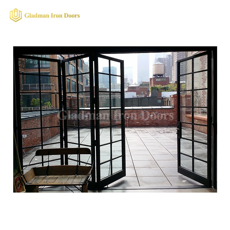 4 Panels Both Sides Opening Bi-folding Door /Easy Slide  /Coal-Matte Black/Clear Glass