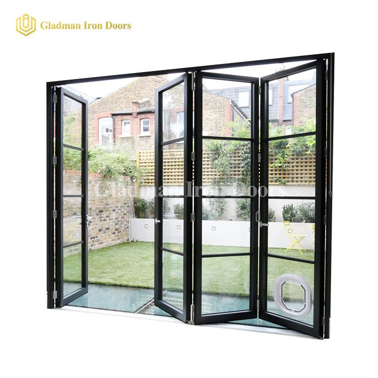 Popular Bi-folding Door With Modern Design /Easy Slide  /Coal-Matte Black/Clear Glass