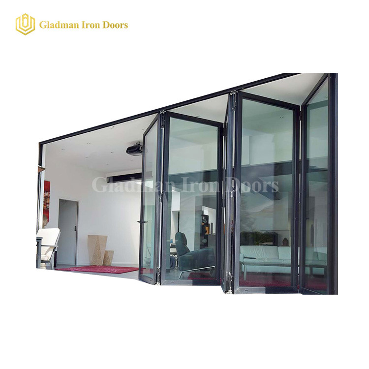 Hot Sales Bi-folding Door With Modern Design /Big full Glasses  /Coal-Matte Black