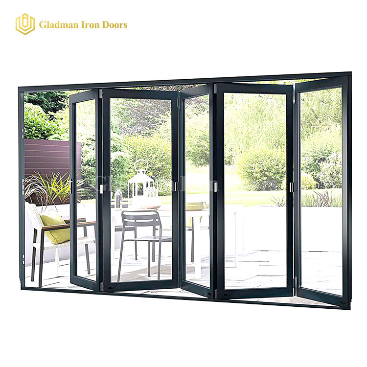 Popular Bi-folding Door With Low-E Glasses /Anti-rusting/  /Coal-Matte Black/Iron Materials