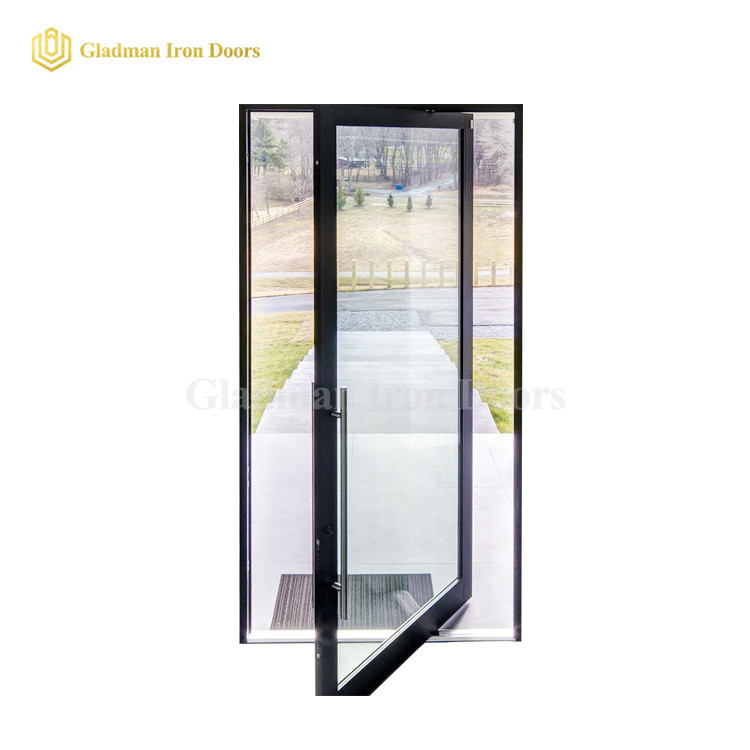 Popular Single Pivot Door With Clear Double Panels Glass /Anti-rusting/ Coal-Matte Black/Iron Materials