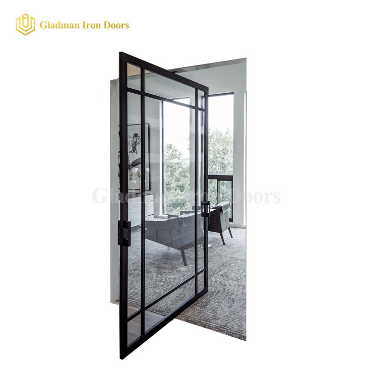 Interior Pivot Door With Single Tempered Glass /Cheap Price /Coal-Matte Black/Iron Materials