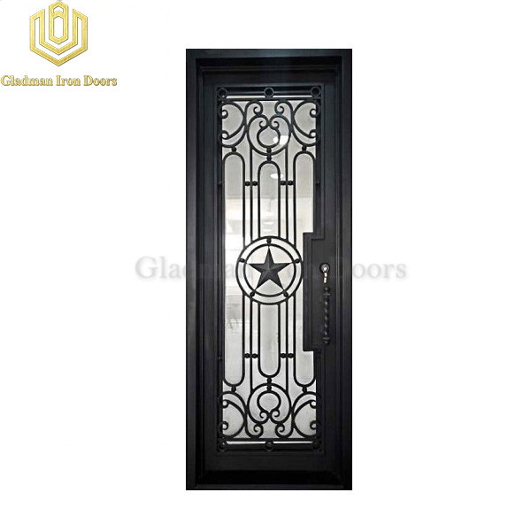Square Top Wrought Iron Door Thermal Break With ADA Threshold Pentagram Design