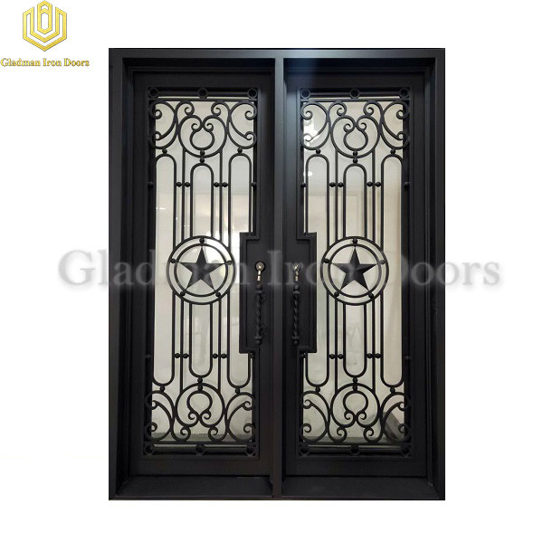 Double Wrought Iron Front Door Square Top Thermal Break With ADA Threshold Pentagram Design