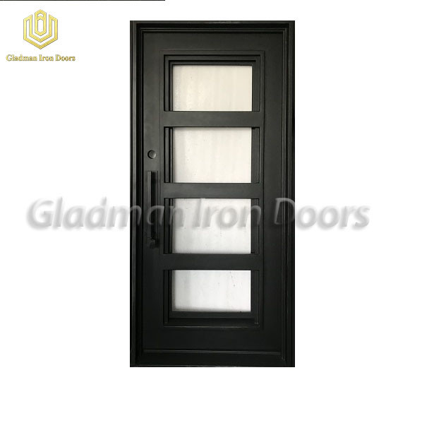 Square Top Wrought Iron Security Door Crafted Single Gate