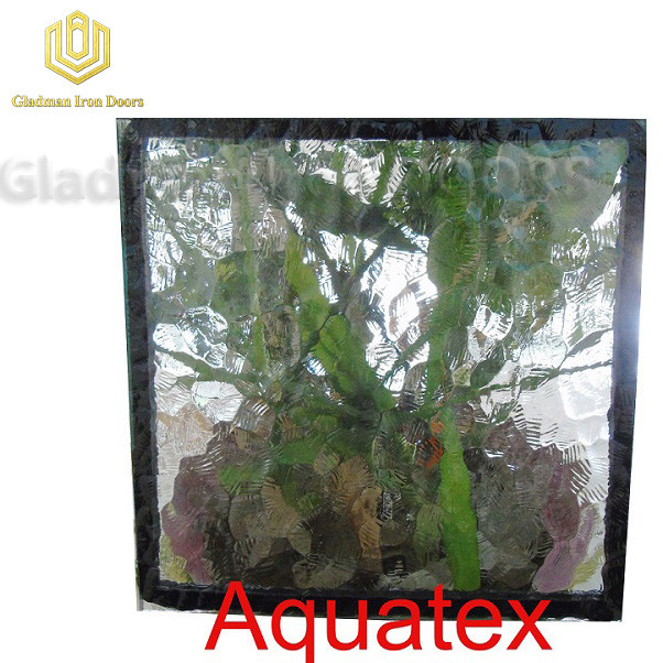 Custom Wrought Iron Door  Aquatex Glass