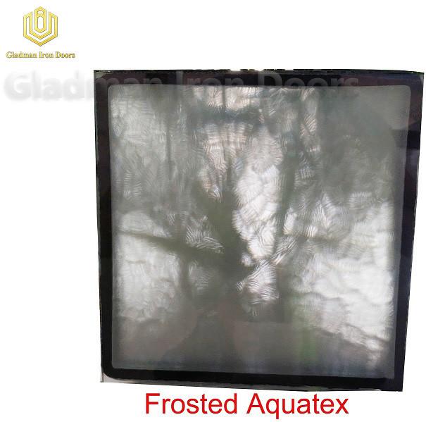 Custom Wrought Iron Door Frosted  Aquatex  Glass