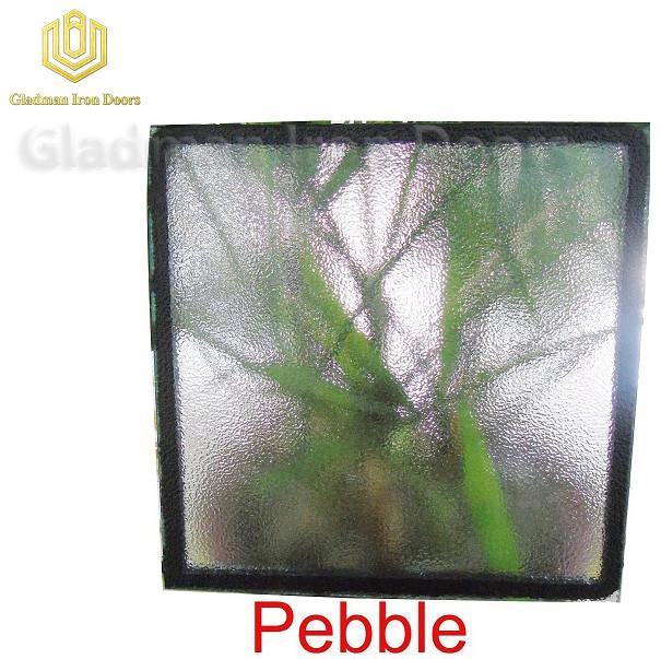 Custom Wrought Iron Door Pebble  Glass