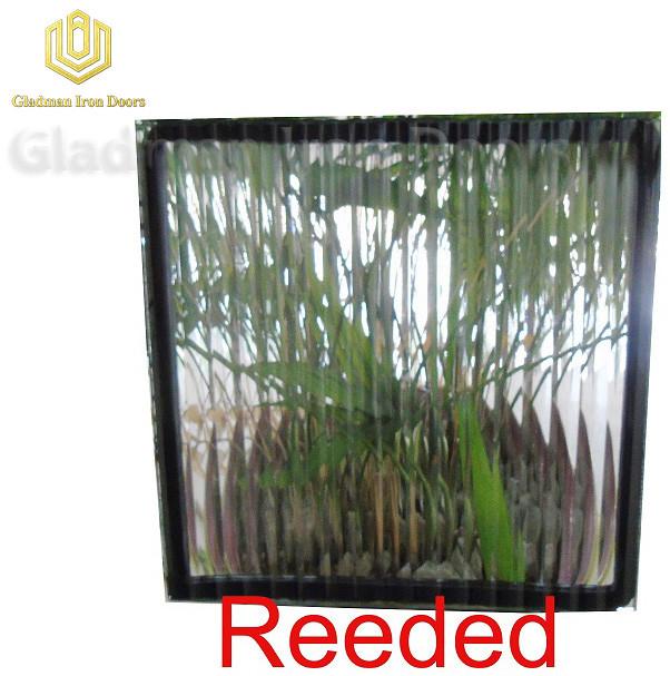 Custom Wrought Iron Door Reeded Glass