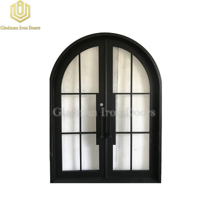 Round Top Double Wrought Iron Doors Lantern Dark