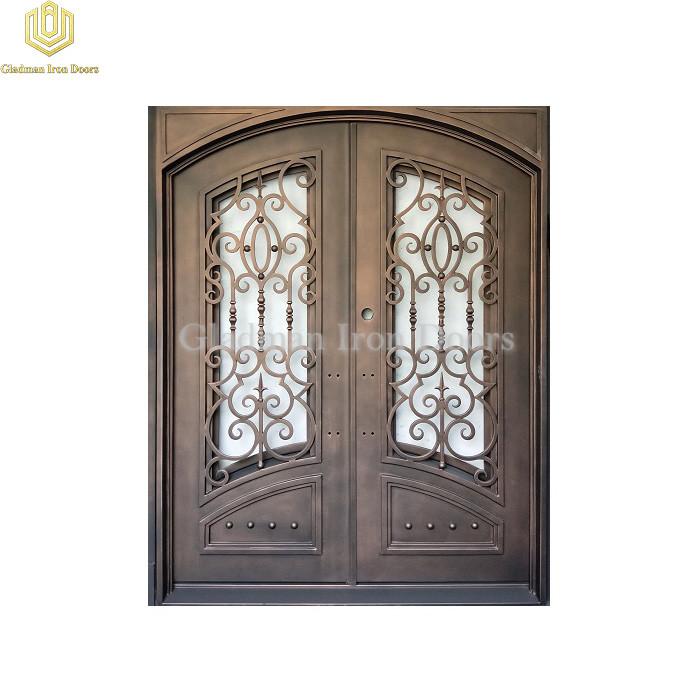 Double Aluminum Front Door Square Top W/ Special Design