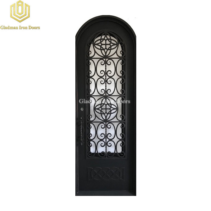 Single Wrought Iron Front Door W/ Round 105 x 37 Inches