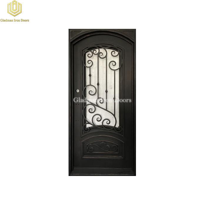 Square Jamb Eyebrown Door Top Wrought Iron Security Front Door Single Gate Design