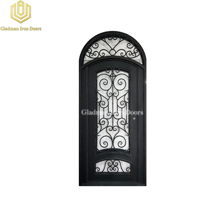 Round Top Wrought Iron Front Door Single Gate Special Design
