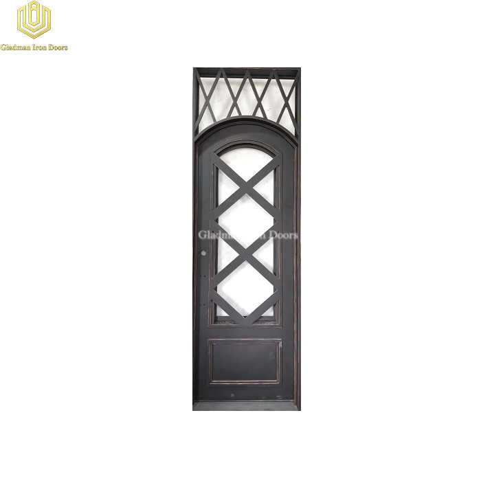 Square Top Wrought Iron Front Door Single Gate Cross Design Black w/Copper Accents