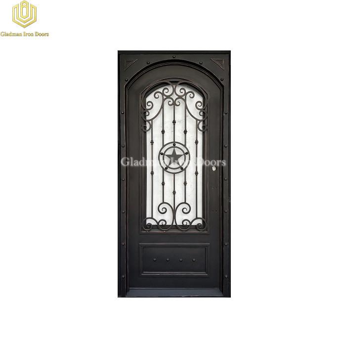 Square Jamb Eyebrown Door Top Wrought Iron Front Door Single Gate Pentagram Design