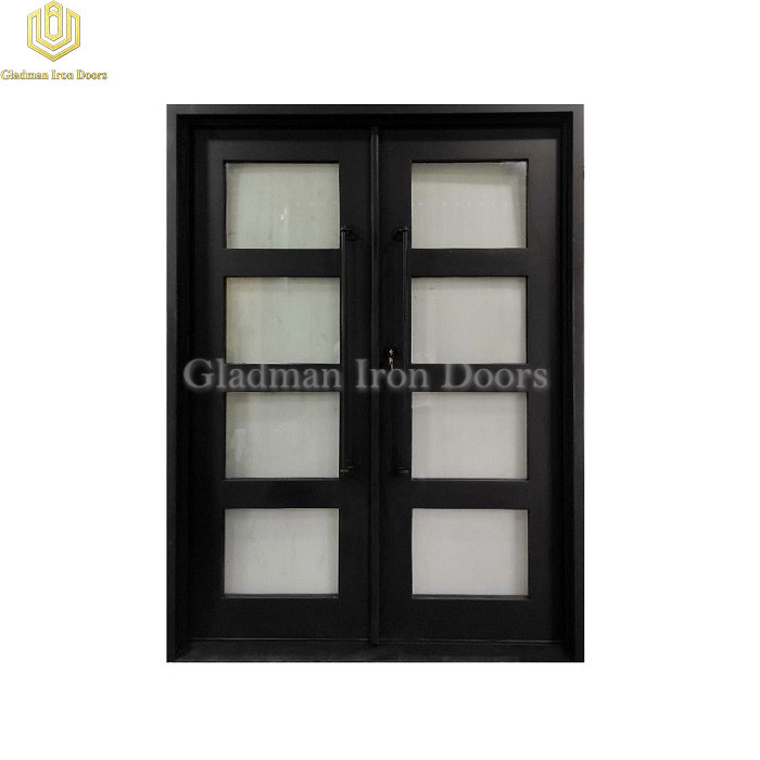 Double Wrought Iron Front Door Square Top Black W/ Fixed Glass