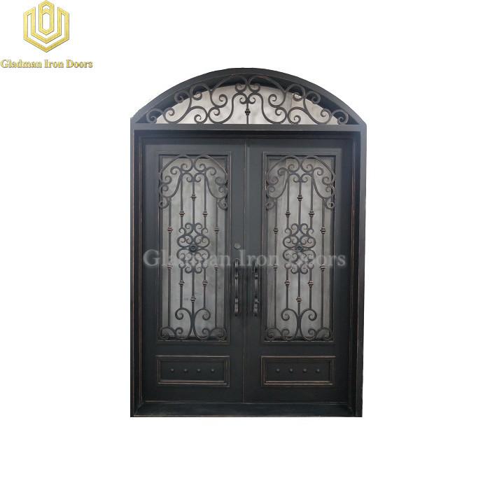 Double Aluminum Front Door Round Top Coal W/ Copper Accents