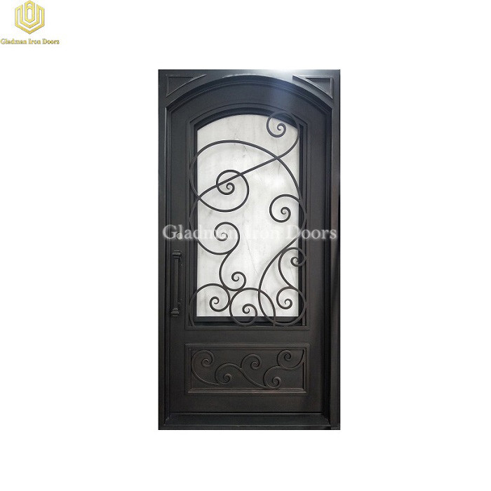 Square Frame Eyebrow Top Wrought Iron Front Door Single Gate Design Lantern
