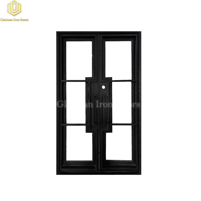 Modern French Entrance Iron Double Door W/ 6 Panels Design