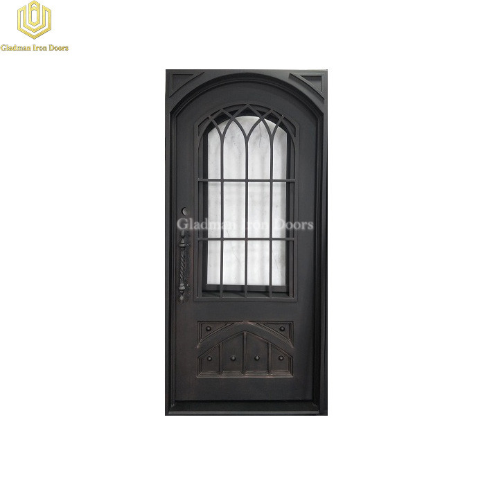 Square Frame Arch Top Wrought Iron Front Door Single Gate W/ Special Kickplate Design