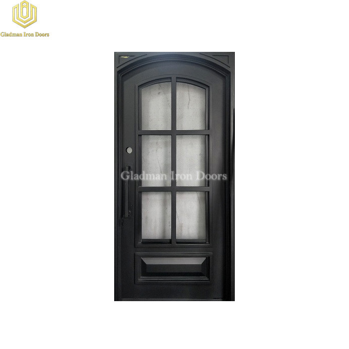 Square Frame Eyebrow Top Wrought Iron Front Door Single Gate Design W/ Screen