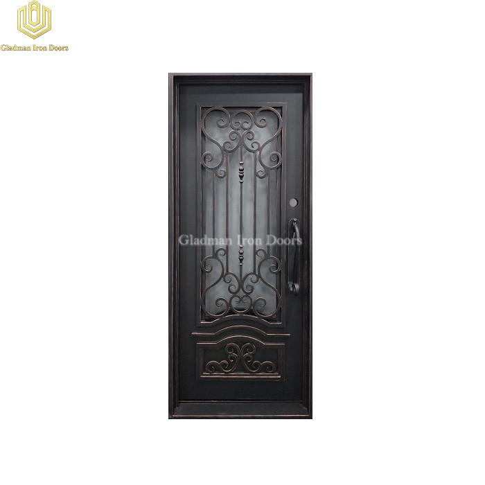 Square Top Wrought Iron Front Door Single Gate Design Lantern W/ Subtle Copper Edges
