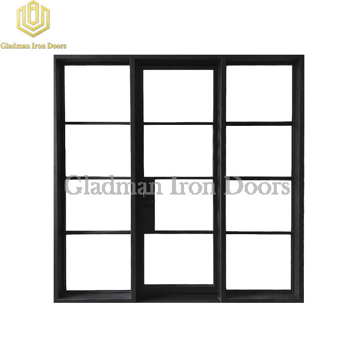 Modern French Entrance Iron Single Door W/ Fixed Glass Design