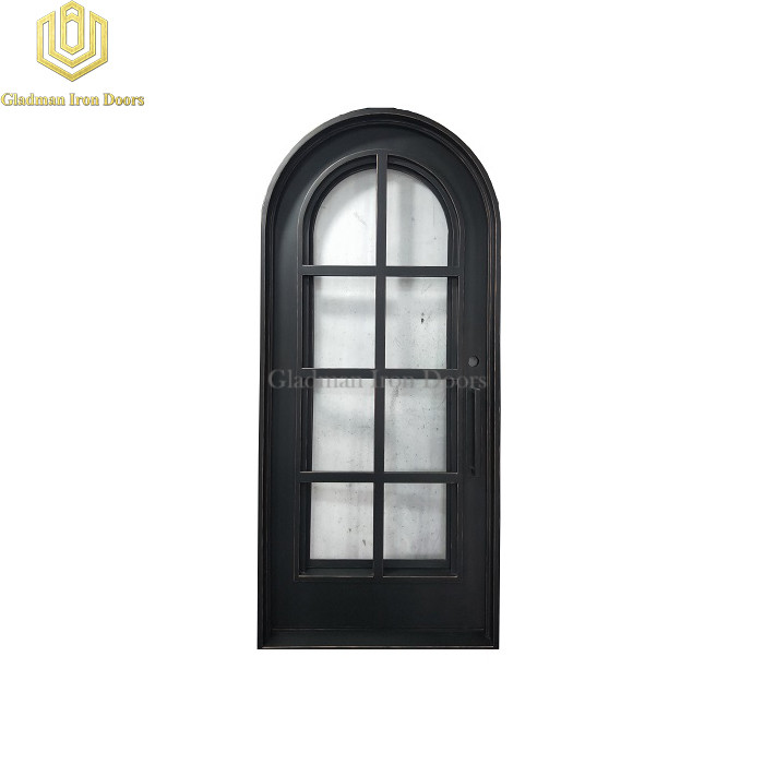 Round Top Wrought Iron Front Door Single Gate Simple Design