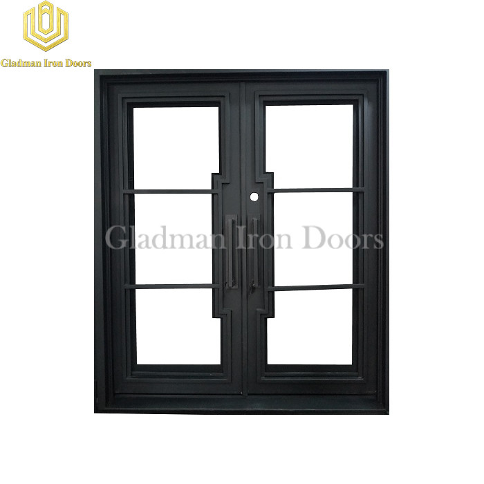 Modern French Entrance Iron Double Door W/ Clear Glass Design